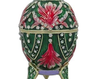 """3.5"""" Jeweled Amaryllis Flowers Faberge Inspired Egg"""
