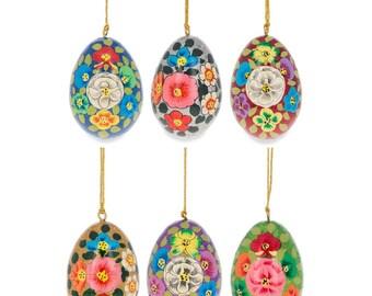 """3"""" Set of 6 Floral Ukrainian Wooden Easter Egg Ornaments"""