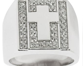 Cross on Crystals Sterling Silver Men's Ring (Size 10)