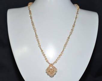 Swarovski crystal necklace cube golden shadow