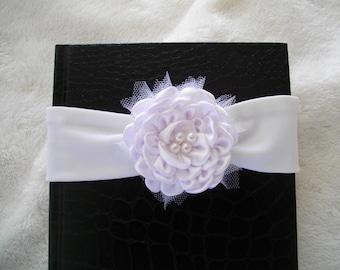 baby headband baptism white satin flower hair accessory
