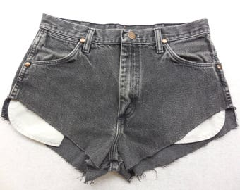 Womens Gray Wash Denim High Cut Off Jean Shorts Size 30 inch Waist