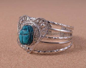 Egyptian Heart Filigree Silver Plated Scarab Bracelet