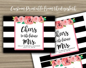 Personalized - Bridal Shower - Champagne Labels - PRINTABLE - DIY - Black and White - Pink - Floral - Bachelorette Party - L25