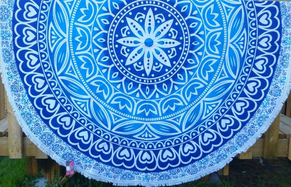 Blue Petal print Ombre Dining Table cover Couch Throw Hippie Wall Tapestry Beach Throw Boho Throw Hippie Throw Mandala round throw Wall art