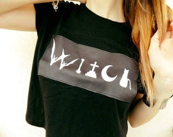 Handmade WITCH Cotton Crop Top/Witch Top/Witchcraft Top/Witch Goth Top/Black Witch Top