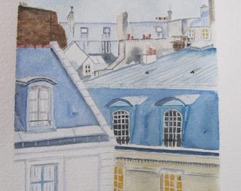 "watercolor ""the roofs of Paris"""