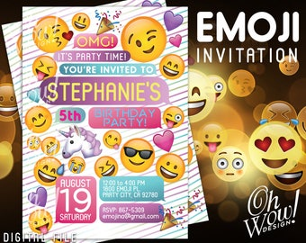 Rainbow Emoji Party Invitation: Digital File