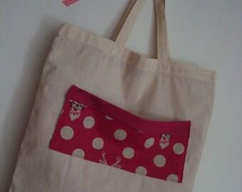"Pink polka dot ecru bag ""Deer with glasses"""