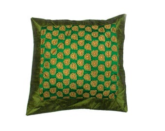 Indian Silk Cushion Cover Home  Brocade Work Decorative Green Color Size 17x17""
