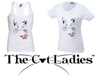 Woman Vest Woman T-Shirt The Cat Ladies White Colour Short Sleeve Handmade
