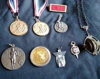Lot of vintage estate items Medals, Coin trinkets, pins, locket, sports medals, awards
