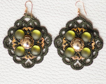 Lace earrings in khaki green colour with beads
