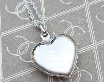 """Personalised Solid Sterling Silver Plain Heart Locket Necklace 18"""" 20"""""""