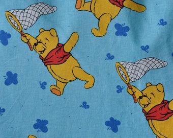Disney Winnie the Pooh fabric reclaimed cotton fabric 1990s