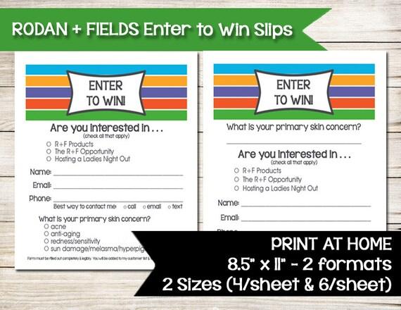 RODAN AND FIELDS Enter to Win Door Prize Drawing Slip