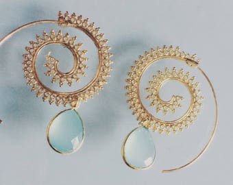 Zalia earrings chalcedony Green Gold water - chic glamour purity of the stone - Miss vk jewelry