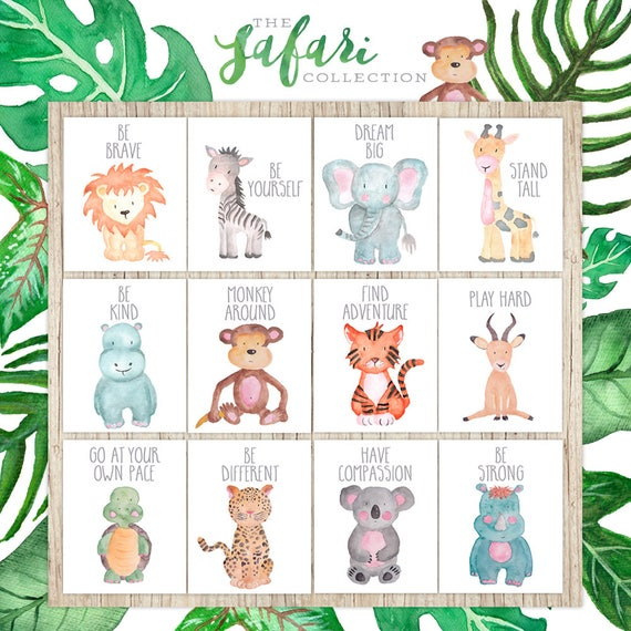 Nursery Printables Set of 12 Safari Nursery Wall Art Decor Animal Paintings Childrens Wall Art Watercolor Baby Animal Prints Playroom Art