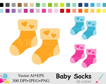 Baby Socks Clip Art, Baby Shower Clipart, Rainbow Socks Clipart, Colorful Socks Graphics, Planner Stickers Clipart, Digital Download Vector