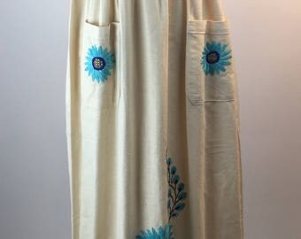 Vintage Mexican Embroidered Maxi Dress Womens Medium