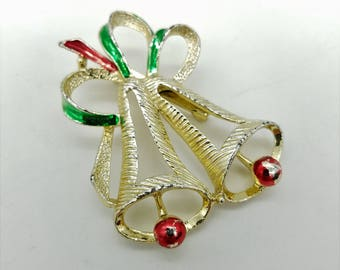 Vintage Red, Green & Gold Christmas Bells Brooch