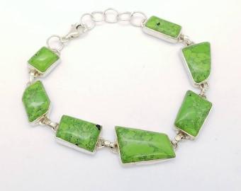 Vintage Lime Green Turquoise & Sterling Silver Link Bracelet