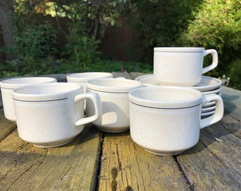 Set of 6 Lenox Silhouette Mugs and Dishes / Tea / Coffee / 70s / Temper-ware / Vintage