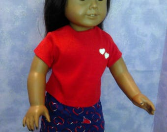 Red and blue skirt set for American girl doll