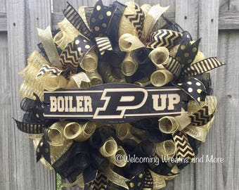Purdue Boilermakers Wreath, Purdue Deco Mesh Wreath, Purdue Decor