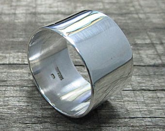 15 mm. Wide Band ring, Plain Ring, Wedding Ring, Simple Ring, Plain Band Ring 925 Sterling Silver Thailand Hand Made Silver Ring
