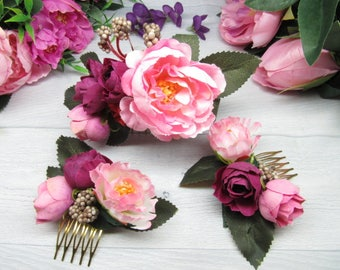 Set wedding comb Wedding flower comb Rustic bridal clip Floral comb bride Wedding pink comb Marsala wedding Comb boho wedding Pink comb hair