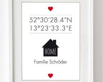 Art Print: At home-with latitude and longitude