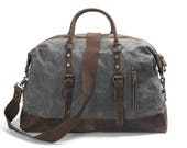 Leather Waxed-Canvas Duffle Bag (Grey)