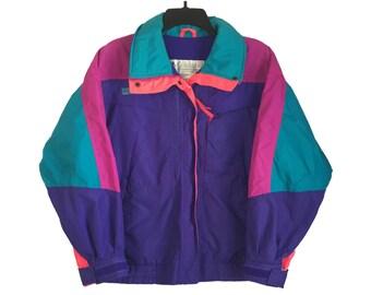Vintage 90's Columbia Purple, Teal and Neon Pink Ski Jacket Medium FREE SHIPPING!