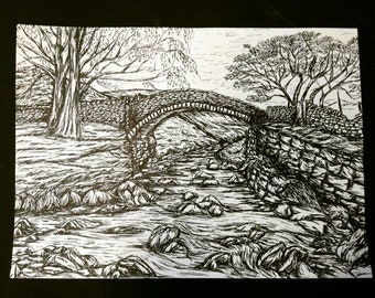 Eastergate, Marsden, Yorkshire. Original Pen and Ink A4 Illustration