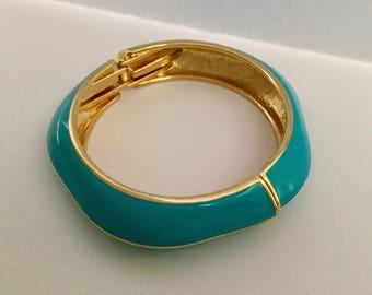 1980's Turquoise Enamel Hinged Bangle Bracelet