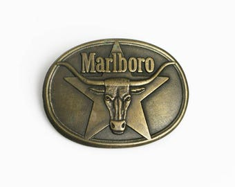 vintage 80s brass Marlboro long horn steer western belt buckle