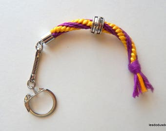 Yellow purple kumihimo braided keychain