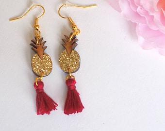 Wooden pineapple earrings