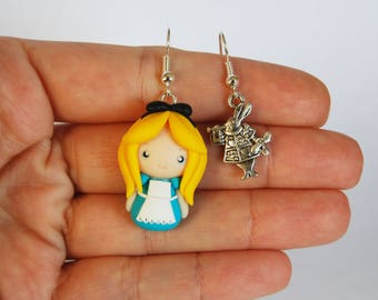 OUTLET! Sale! Earrings in polymer clay + Alice in Wonderland White Rabbit