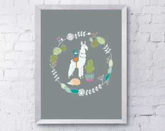Cute Lama, hedgehog, cactus, animal, digital download, Printable, nursery, children's,  wall art