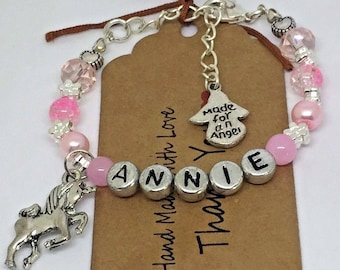 Personalised girls Unicorn Bracelet