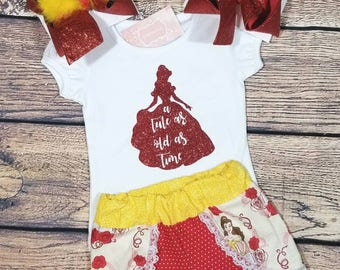 Beauty and the beast outfit, belle outfit, beauty and the beast shirt, beauty and the beast shorts, Disney outfit, Disney shortsthe