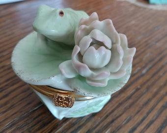 Floral Frog, Lenox Trinket Box