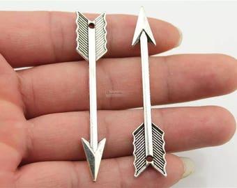 10pcs Arrow charm, 63mm Large Arrow pendant, Antique Silver/ Antique Bronze/ Antique Copper