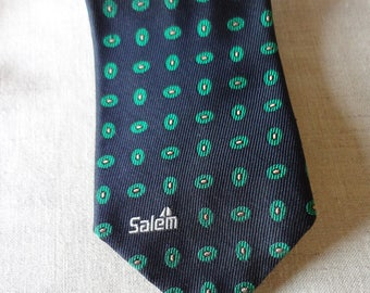 Salem Green Vintage  and Blue Classic Preppy Tie with Little Sailboat