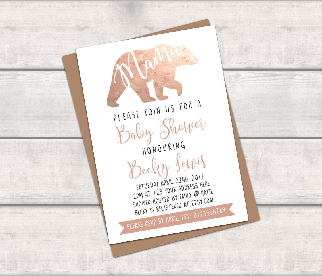 PRINTABLE Personalised Baby Shower Invitation - Mama Bear