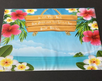 50 Designer Poly Mailers 10x13 Small Business Tropical Flowers Beach Ocean  Envelopes Shipping Bags