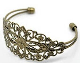 free shipping Bangle filigree bronze 16.5 cm adjustable