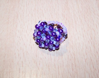 ring made of Czech crystal pearls and seed beads, nylon thread